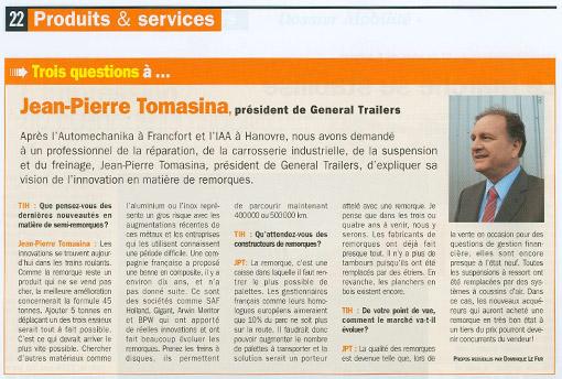 Jean-Pierre Tomasina, président de TODD GT, répond sur l'innovation remorque - Article [img]