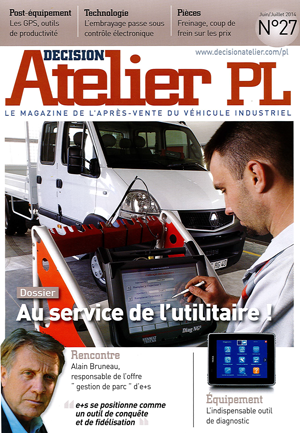 """Couverture """"Atelier PL, le magazine de l'après-vente Poids-Lourds"""", juillet-août 2014"""
